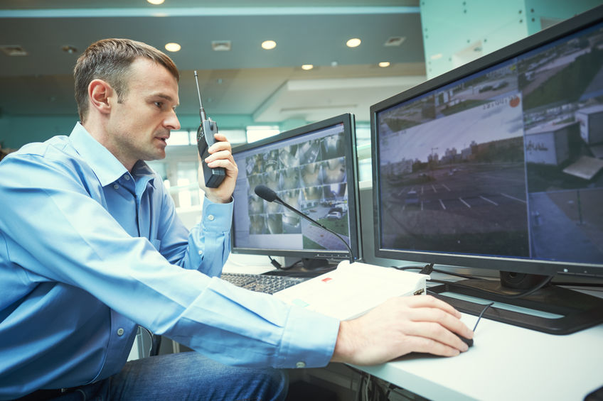 Business Park Security Guard Monitoring Video Surveillance
